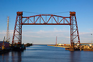 The Elgin, Joliet & Eastern Railway's lift bridge at the mouth of the Calumet River. In the distance is Lake Michigan.