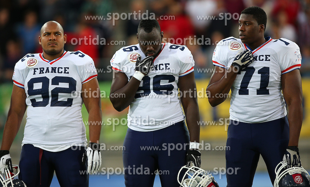 04.06.2014, UPC Arena, Graz, AUT, American Football Europameisterschaft 2014, Gruppe B, Frankreich (FRA) vs Oesterreich (AUT), im Bild XArnaud  Couanon Vertueu , (Team France, LB , #92),  Mamadou  Sy , (Team France, DL , #96) und  Mamoudou  Doumbouya , (Team France, OL , #71) // during the American Football European Championship 2014 group B game between France vs Austria at the UPC Arena, Graz, Austria on 2014/06/04. EXPA Pictures © 2014, PhotoCredit: EXPA/ Thomas Haumer