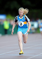 20 Aug 2016:  Kellie Bester, from Tipperary heads for the finish line in the final leg of the Girls U14 4x100 Relay.   2016 Community Games National Festival 2016.  Athlone Institute of Technology, Athlone, Co. Westmeath. Picture: Caroline Quinn