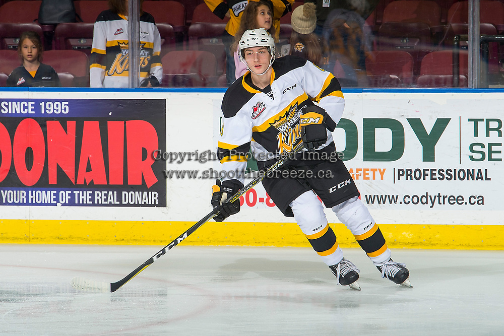 KELOWNA, BC - NOVEMBER 03: Ty Thorpe #8 of the Brandon Wheat Kings warms up against the Kelowna Rockets  at Prospera Place on November 3, 2018 in Kelowna, Canada. (Photo by Marissa Baecker/Getty Images) ***Local Caption***Ty Thorpe;