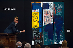 "© Licensed to London News Pictures. 28/06/2017. London, UK. ""Untitled"", 1983, by Jean-Michel Basquiat sold for a hammer price of GBP5.63m (estimate GBP4-6m)at Sotheby's Contemporary Art evening sale in New Bond Street, which featured pioneering works from the Pop Art genre. Photo credit : Stephen Chung/LNP"