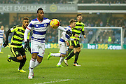 Queens Park Rangers midfielder Kazenga LuaLua (28)  clears the ball from danger during the EFL Sky Bet Championship match between Queens Park Rangers and Huddersfield Town at the Loftus Road Stadium, London, England on 11 February 2017. Photo by Andy Walter.