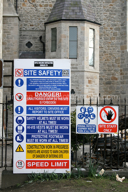 Safety site notices at construction site in Dublin Ireland