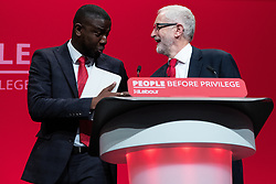 © Licensed to London News Pictures . 24/09/2019. Brighton, UK. JERMAIN JACKMAN introduces JEREMY CORBYN for the leader's speech , delivered a day early , on the fourth day of the 2019 Labour Party Conference from the Brighton Centre , after the Supreme Court ruled that Boris Johnson's suspension of Parliament was unlawful . Photo credit: Joel Goodman/LNP