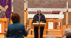 Bishop Ernst Gamxaub of Namibia takes a question while speaking at Trinity Lutheran on Monday, April 25, 2016. (Photo: John Froschauer/PLU)