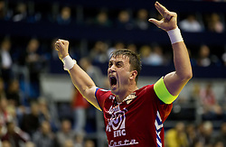 Momir Ilic  of Serbia reacts during handball match between Poland and Serbia in Preliminary Round of 10th EHF European Handball Championship Serbia 2012, on January 15, 2012 in Arena Pionir, Belgrade, Serbia. Serbia defeated Poland 22-18. (Photo By Vid Ponikvar / Sportida.com)