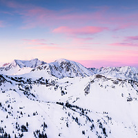 A 2 hour pre dawn hike to rewards with a stunning sunrise over Alta, Snowbird and the Twin Peak Wilderness. A 5 image merge creates a ultra large panoramic. Utah 2017