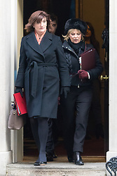 Downing Street, London, January 19th 2016. Education Secretary Nicky Morgan and Small Business Minister Anna Soubry leave 10 Downing Street following the weekly cabinet meeting. ///FOR LICENCING CONTACT: paul@pauldaveycreative.co.uk TEL:+44 (0) 7966 016 296 or +44 (0) 20 8969 6875. ©2015 Paul R Davey. All rights reserved.