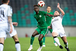Macky Bagnack of NK Olimpija Ljubljana and David Cushley of FC Crausaders during 1st Leg football match between NK Olimpija Ljubljana and FC Crausaders in 2nd Qualifying Round of UEFA Europa League 2018/19, on July 26, 2018 in SRC Stozice, Ljubljana, Slovenia. Photo by Urban Urbanc / Sportida