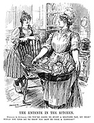 "The Entente in The Kitchen. Marianne (to Britannia). ""So you're going to start a meatless day, my dear? Would you like me to show you how to cook a cabbage?"" (France and Britain share austerity in the kitchen during WW1)"