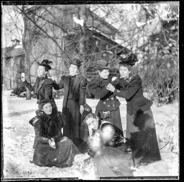 Victorian photograph of women outside in the snow in Fallston, Maryland.