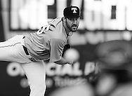 Detroit Tigers pitcher Justin Verlander, playing for the Toledo Mud Hens in a rehab start, warms up before a Triple-A baseball game against the Columbus Clippers in Toledo, Ohio, Saturday, June 6, 2015. (AP Photo/Rick Osentoski)