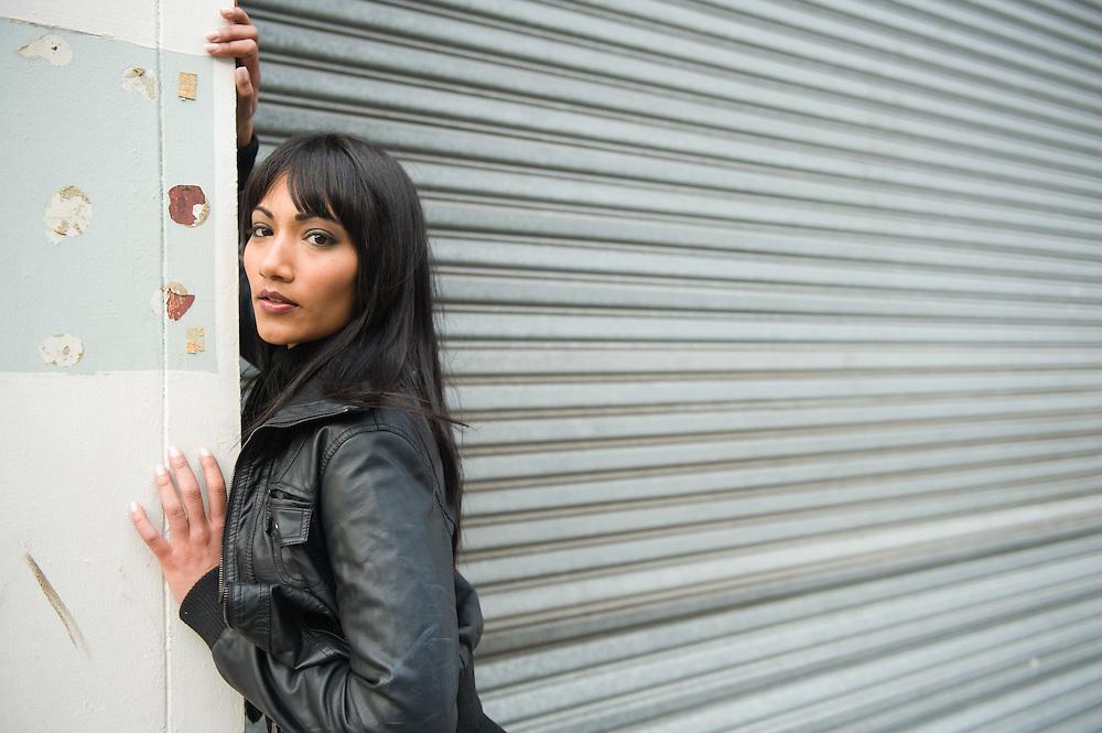 Woman fashion model photo shoot