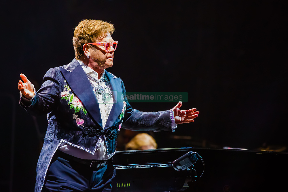 May 29, 2019 - Verona, Verona, Italy - Elton John, living legend of world pop music, has performed for the first date of the Arena di Verona and of the three dates scheduled in Italy (the third will be a Lucca on 7 July) of his Farewell Yellow Brick Road, the farewell tour at the scene in 2018 in the United States and which will include 300 concerts in 3 years and on 5 continents..An autobiographical concert that touches all the greatest hits of the king of pop. (Credit Image: © Luigi Rizzo/Pacific Press via ZUMA Wire)