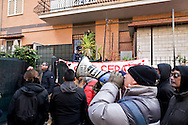 Rome, Italy. 20th January 2016<br /> Francesca precarious worker and Santo his mate ill with multiple sclerosis have been evicted for non-payment from the house where they lived in the Torreveccchia district on the outskirts of Rome. In the pictured: The movements for the right to housing are protesting for the eviction