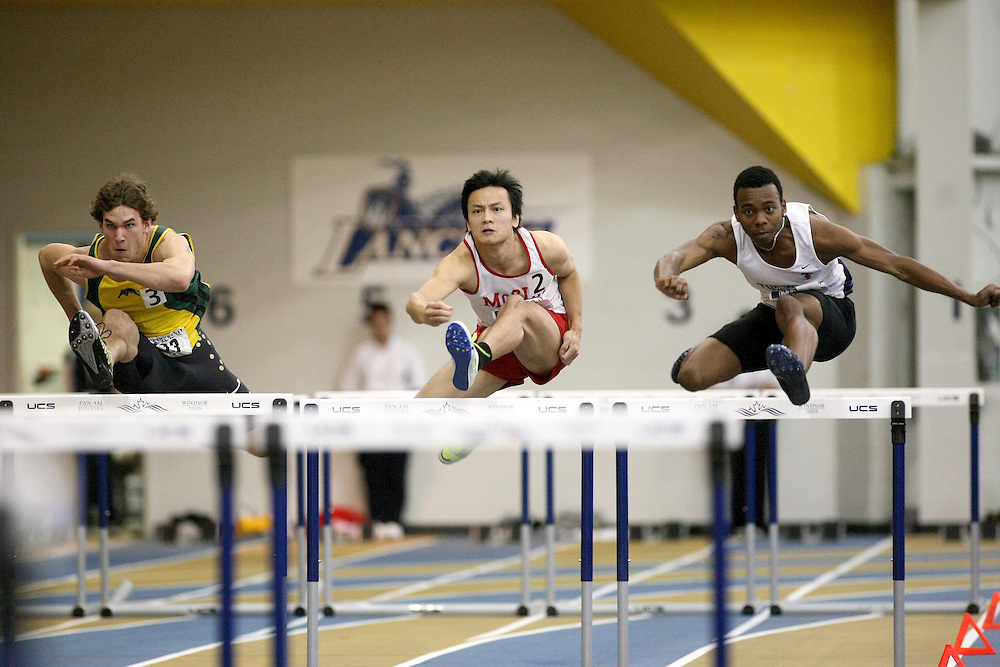Windsor, Ontario ---13/03/09--- \cis\ competes in the 60m Hurdle Prelims at the CIS track and field championships in Windsor, Ontario, March 13, 2009..Sean Burges Mundo Sport Images