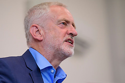 © Licensed to London News Pictures. 07/08/2017. Crawley, UK. Labour Party leader JEREMY COBYN during a campaign visit in Crawley, Surrey. Corbyn has faced recent criticisms for his response to the crisis in Venezuela, a country ruled by a government he has openly backed in the past.  Photo credit: Ben Cawthra/LNP