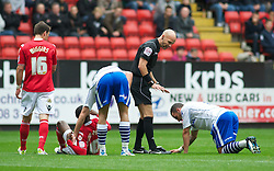 LONDON, ENGLAND - Saturday, October 8, 2011: Tranmere Rovers' Robbie Weir and Charlton Athletic's Bradley Wright-Phillips collide during the Football League One match at The Valley. (Pic by Gareth Davies/Propaganda)