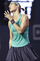 August 21, 2018 - New Haven, CT, USA - Caroline Garcia of France reacts after a point against Aliaksandra Sasnovich of Belarus during their second-round match at the Connecticut Open Tennis Tournament in New Haven, Conn., on Tuesday, Aug. 21, 2018. (Credit Image: © John Woike/TNS via ZUMA Wire)