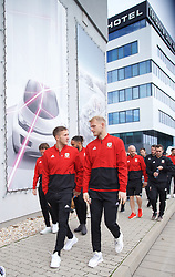 BRATISLAVA, SLOVAKIA - Thursday, October 10, 2019: Wales' Will Vaulks (L) and goalkeeper Adam Davies during a pre-match team walk near the Hotel NH Bratislava Gate One ahead of the UEFA Euro 2020 Qualifying Group E match between Slovakia and Wales. (Pic by David Rawcliffe/Propaganda)