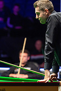 Action from the World Snooker 19.com Scottish Open Final Mark Selby vs Jack Lisowski at the Emirates Arena, Glasgow, Scotland on 15 December 2019.<br /> <br /> Mark Selby has a little smile to himself following Jack Lisowski's escape from the snooker that has left him thinking.