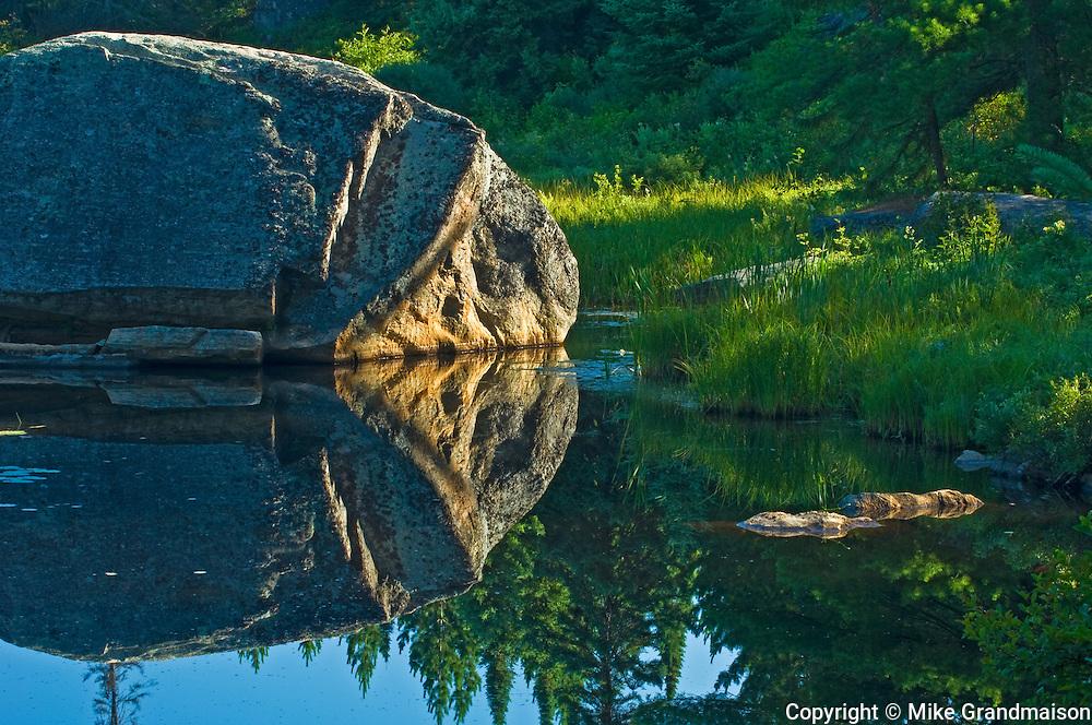 Rock reflection in Opeongo Pond<br /> Algonquin Provincial Park<br /> Ontario<br /> Canada
