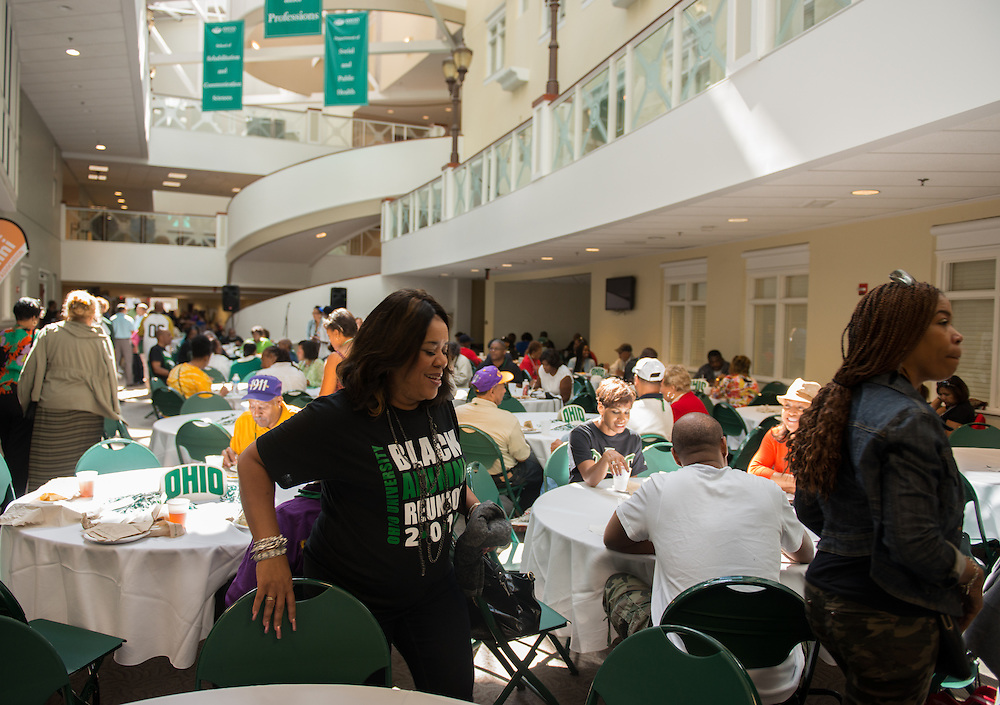 Alumni enjoying the Black Alumni Reunion Cookout held in Grover Center on Saturday 28, 2013.