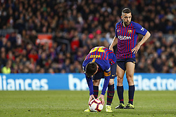 March 9, 2019 - Barcelona, Catalonia, Spain - FC Barcelona forward Lionel Messi (10) and FC Barcelona defender Jordi Alba (18) during the match FC Barcelona v Rayo Vallecano, for the round 27 of La Liga played at Camp Nou  on 9th March 2019 in Barcelona, Spain. (Credit Image: © Mikel Trigueros/NurPhoto via ZUMA Press)