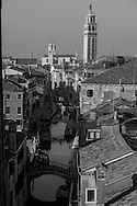 Italy. Venice elevated view. SAN BARNABA canal , CARMES church and the rooftops.  Venice - Italy  view from CA REZONICO  palace / le canal SAN BARNABA , l eglise des CARMES et LES TOITS  Venise - Italie vue depuis la CA REZONICO palais