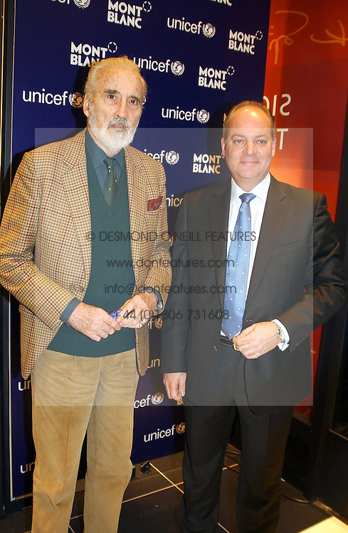 Left to right, actor CHRISTOPHER LEE and KEVIN BOLTMAN,  at a party to celebrate the opening of the new Mont Blanc store at 151 Sloane Street, London on 9th March 2005.  The evening was held in conjunction with UNICEF's &quot;Sign up for the right to write&quot; campaign which is raising money though the sale of celebraties 'statements' currently for auction on the ebay website.<br />