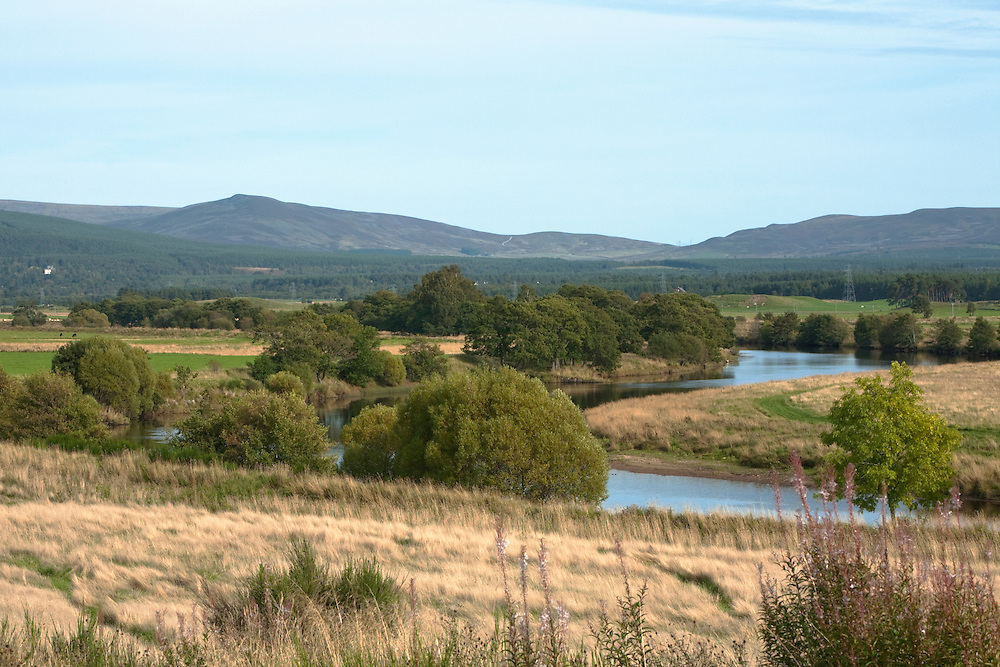 River Spey and Spey valley near Aviemore, Cairngorm National Park, Scotland, Uk