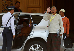Newly elected president of Myanmar U Htin Kyaw (R, front) waves to media in Nay Pyi Taw, Myanmar, March 15, 2016. U Htin Kyaw from Myanmar's ruling National League for Democracy (NLD), led by Aung San Suu Kyi, won the presidential election Tuesday through a secret ballot, thus becoming the country's new president for the next five-year term, (lyi). EXPA Pictures © 2016, PhotoCredit: EXPA/ Photoshot/ U Aung<br /> <br /> *****ATTENTION - for AUT, SLO, CRO, SRB, BIH, MAZ, SUI only*****
