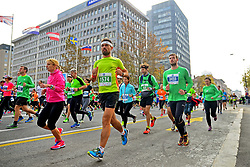 LJUBLJANA, Oct. 30, 2017  Competitors run during the 22nd Ljubljana Marathon in Ljubljana, Slovenia, on Oct. 29, 2017. Almost 30,000 runners from Slovenia and abroad participated in the event. (Credit Image: © Matic Stojs/Xinhua via ZUMA Wire)