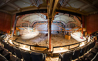 Renovation work done by Bonnette, Page and Stone at the Colonial Theater in downtown Laconia.  Upper balcony/stage area showing middle partition wall.  ©2016 Karen Bobotas Photographer