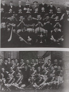 top: Dublin (Collegians)-All-Ireland Hurling Champions 1917. Back Row: Pat Cullen, Tim Gleeson, Harry Boland, Sean Donovan, Prof A Cleary ( UCD), Andy Harty, Luke O'Toole ( Gen Sec of GAA). Middle Row: Jim Murphy, Frank Burke, Jimmy Cleary, Joe Phelan, Brendan Considine, Martin Hayes, Hugh Burke, Fr T Corcoran, S J (UCD), seated: Martin Hackett, Mick Neville, Bob Mockler, Dr John Ryan, Paddy Kenefick, Charlies Stuart. Front Row: Tommy Daly, Tommy Moore.