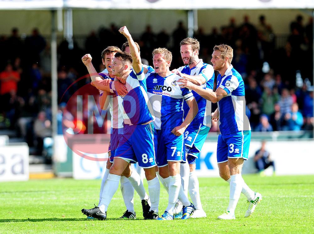 Bristol Rovers' Ollie Clarke (L) celebrates his goal  - Photo mandatory by-line: Neil Brookman - Mobile: 07966 386802 23/08/2014 - SPORT - FOOTBALL - Bristol - Memorial Stadium - Bristol Rovers v AFC Telford - Vanarama Football Conference