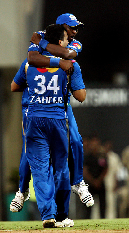Mumbai Indians Bowler Zaheer Khan Celebrates A Team Mate  Deccan Chargers Batsman Kemar Roach Wicket  During The Deccan Chargers vs Mumbai Indians, 25th Twenty20 match Indian Premier League- 2009/10 season Played at Dr DY Patil Sports Academy, Mumbai 28 March 2010 - day/night (20-over match)