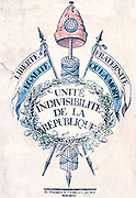 French Revolution 1789: Allegorical emblem of Republic Fasces topped by Cap of Liberty and ribbands with legend ' Liberty, Fraternity, Egality or Death'. Contemporary popular coloured print.