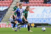 Jamie Allen, Conor McAleny during the Sky Bet League 1 match between Wigan Athletic and Rochdale at the DW Stadium, Wigan, England on 28 March 2016. Photo by Daniel Youngs.