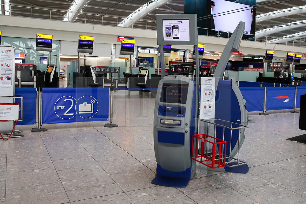 © Licensed to London News Pictures. 09/09/2019. London, UK. Heathrow Terminal 5 departures is completely empty as tens of thousands of British Airways passengers <br /> face disruption on the first day of the two days first-ever strike staged by British Airways pilots dispute over pay. British Airways had requested its passengers that they were unlikely to travel and to make alternative arrangements prior to the strike action. Photo credit: Dinendra Haria/LNP