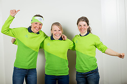 Anamarija Lampic?, Nika Razingar and Alenka Cebasek during the outfitting of the Slovenian Olympic Team for PyeongChang 2018, on January 29, 2018 in GH Union, Ljubljana, Slovenia. Photo by Urban Urbanc / Sportida