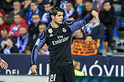 Alvaro Morata of Real Madrid celebrates after scoring a goal during the Spanish championship Liga football match between Club Deportivo Leganes and Real Madrid on April 05, 2017 at Butarque Stadium in Leganes, Spain - Photo Asenjo Sesma / SpainProSportsImages / DPPI / ProSportsImages / DPPI