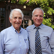 Government whistleblower Daniel Ellsberg (left) poses with Dean, Edward Wasserman at the UC Berkeley Graduate School of Journalism during the first week orientation for incoming students at North Gate Hall in Berkeley, California, on Wednesday, August 27, 2014. Ellsberg, who is most famous for his role in the Pentagon Papers ordeal, interacted with students about such topics as freedom of the press, whistleblowers Eric Snowden and Chelsea Manning, and the responsibilities and ethical morals of reporters and other members of the media. (AP Photo/Alex Menendez)