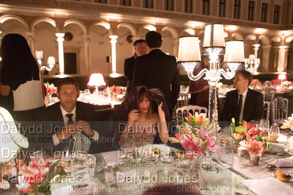 GIA COPPOLA SHELTERING FROM THE RAIN, Italian Vanity Fair's 10 Anniversary celebration  hosted by Luca Dini. . Fondazione Cini, Isola di San Giorgio. Venezia.  1 September 2013