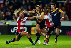Perry Humphreys of Worcester Warriors is tackled by Charlie Sharples of Gloucester Rugby and Billy Twelvetrees of Gloucester Rugby - Mandatory by-line: Robbie Stephenson/JMP - 22/09/2017 - RUGBY - Kingsholm - Gloucester, England - Gloucester Rugby v Worcester Warriors - Aviva Premiership