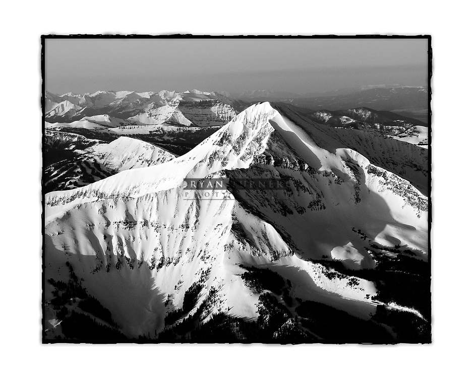 Black and white classic aerial image of Lone Peak with a burned edge border.  Limited Edition - 75