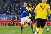 Jamie Vardy (9) shields the ball during the Premier League match between Leicester City and Watford at the King Power Stadium, Leicester, England on 4 December 2019.