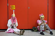 UNITED KINGDOM, London: 27 May 2018 Cosplay fans take a break at the MCM London Comic Con earlier today. The three day comic convention, which is held at London's ExCeL, was visited by thousands of avid cosplay fans and enthusiasts. Rick Findler / Story Picture Agency