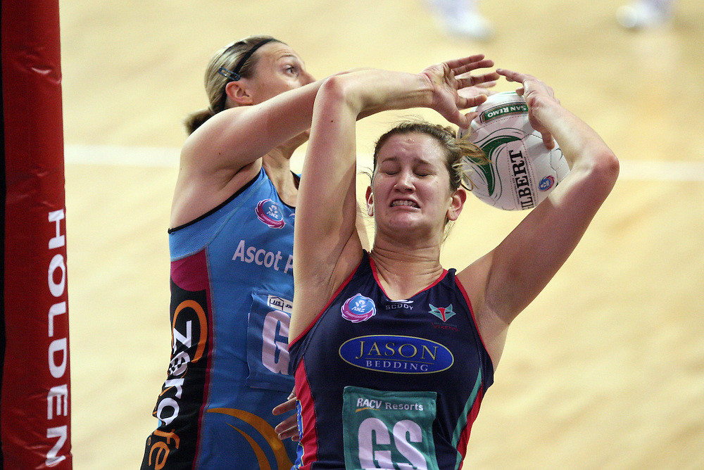 Steels Demelza NcCloud, left, and Vixens Karyn Howarth compete for the ball in the ANZ Championship netball match at Invercargill Velodrome, Invercargill, New Zealand, Saturday, June 30, 2012. Credit:SNPA / Dianne Manson