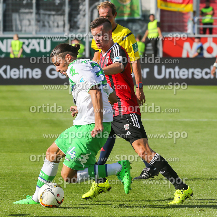 12.09.2015, Audi Sportpark, Ingolstadt, GER, FC Ingolstadt 04 vs VfL Wolfsburg, 4. Runde, im Bild Ricardo Rodriguez (Nr.34,VfL Wolfsburg) gegen Pascal Gross (Nr.10, FC Ingolstadt 04) // during the German Bundesliga 4th round match between FC Ingolstadt 04 and VfL Wolfsburg at the Audi Sportpark in Ingolstadt, Germany on 2015/09/12. EXPA Pictures &copy; 2015, PhotoCredit: EXPA/ Eibner-Pressefoto/ Strisch<br /> <br /> *****ATTENTION - OUT of GER*****